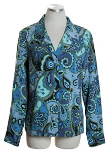 Lilly Pulitzer Long Sleeve Print Woven Paisley Button Down Shirt Blue