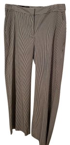 Liz Claiborne Seersucker Wide Leg Pants White w/Black Pinstripes