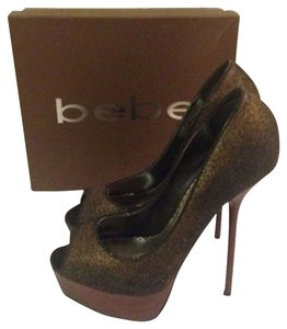 Bebe Peep Toe black with gold undertones Pumps