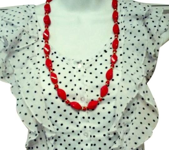 1950 Beaded Necklace 1950 Chunky Red Plastic Beaded Necklace with gold spacer 28 inch super JAZZY