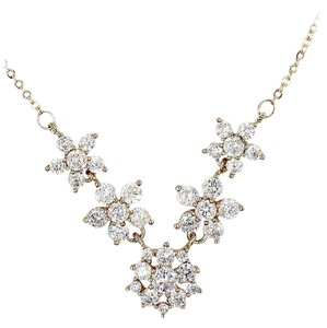 Ocean Fashion Mini crystal flowers clavicle gold necklace