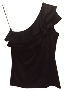 Ralph Lauren Black Label 100% Cotton One Ruffled Top black
