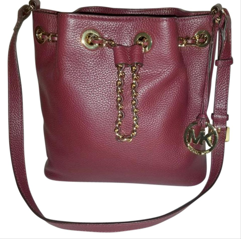 d4dc9e06b816 Michael Kors Bucket Frankie Oxblood Burgundy Leather Cross Body Bag ...