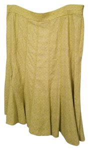 Liz Claiborne 100% Linen Fit Flare Side Zipper Closure Skirt Lime Green and White Print