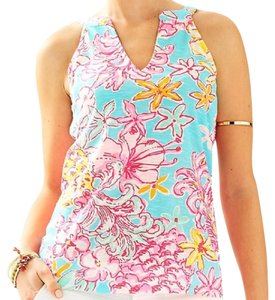 Lilly Pulitzer Floral Lolita Arya Top Breakwater Blue