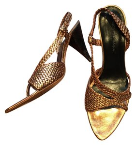 Georgina Goodman Braided Slingback Pump metallic bronze Sandals
