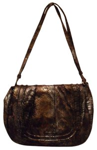 Possé Isabella Snake Print Leather Tote Handbag Metallic Cross Body Bag
