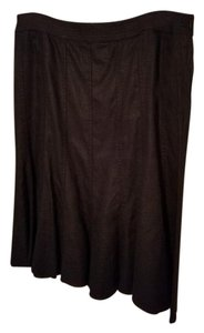 Liz Claiborne 100% Linen Fit And Flare Unlined Skirt Black