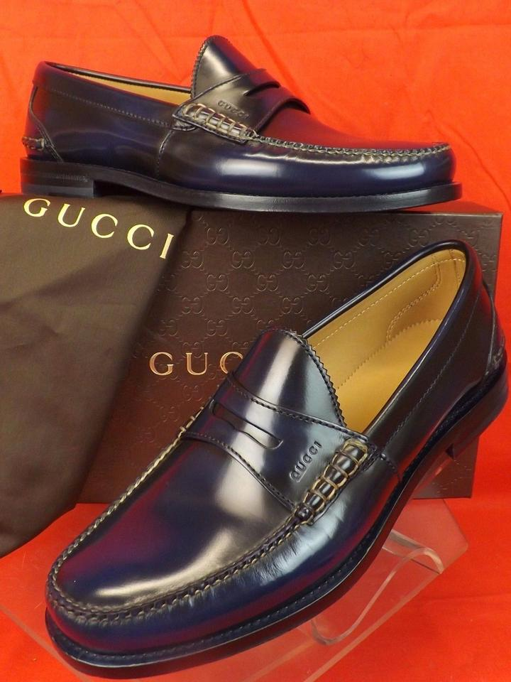 eea127df9e7 Gucci Navy Blue Mens Camaleon Polished Leather Script Penny Loafer 11 12  368442 Shoes Image 0 ...