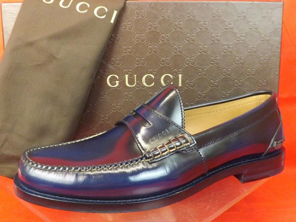 57b16a77720 Gucci Navy Blue Mens Camaleon Polished Leather Script Penny Loafer 11 12  368442 Shoes Image 10. 1234567891011
