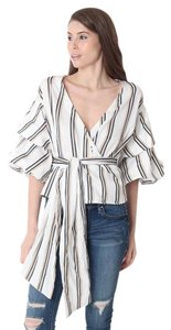 hausofgio Striped Fashion Nautical Top ivory black