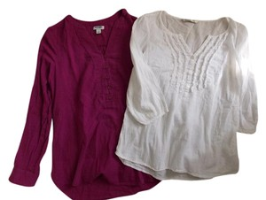 Old Navy Top Magenta and White