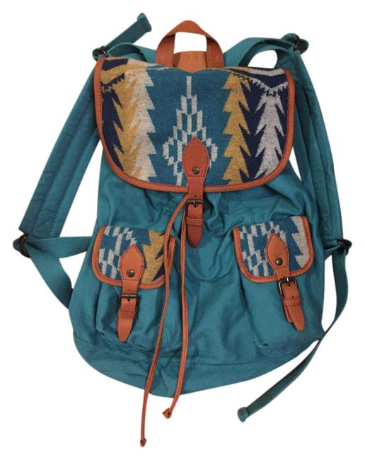 Item - Teal and Brown Wool Leather Canvas Backpack