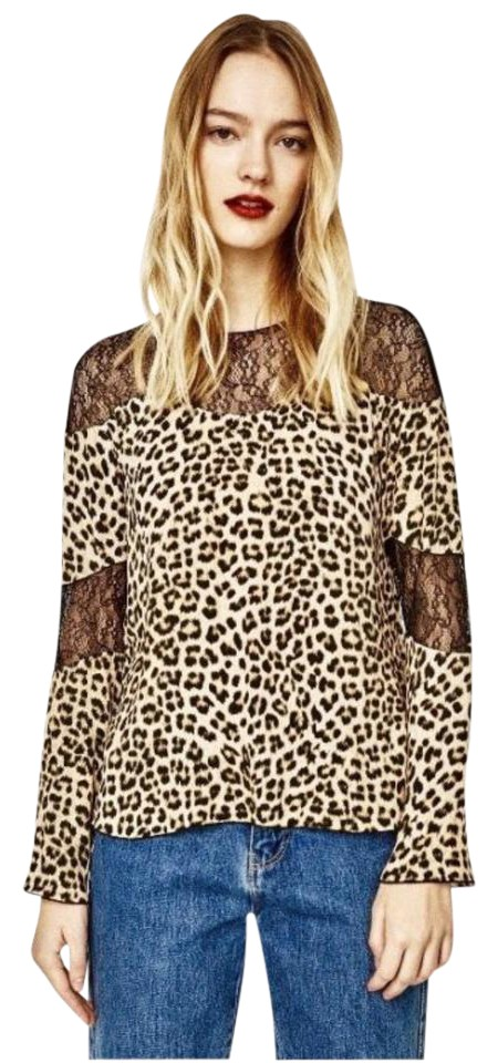 36c3fa20 Zara Animal/Leopard Print Long Sleeve with Lace Detailing Blouse ...