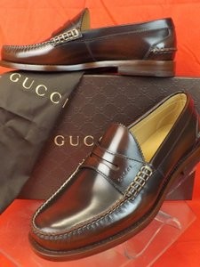 Gucci Mens Cocoa Camaleon Polished Leather Script Logo Penny Loafers 7 8