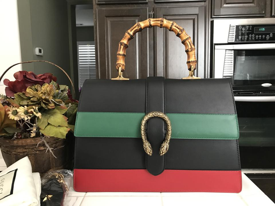 fc9ed7bd1f0c Gucci Dionysus Top Handle Stripe Black Red Green Leather Shoulder ...