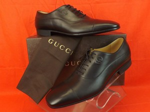 Gucci Black Mens Cirano Leather Interlocking Oxford 13 14 353031 Shoes