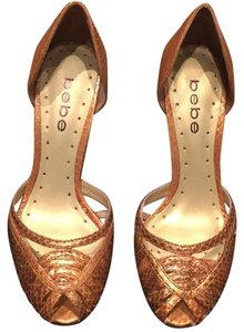 bebe Snakeskin Toe Stiletto Metallic Bronze/Gold Pumps