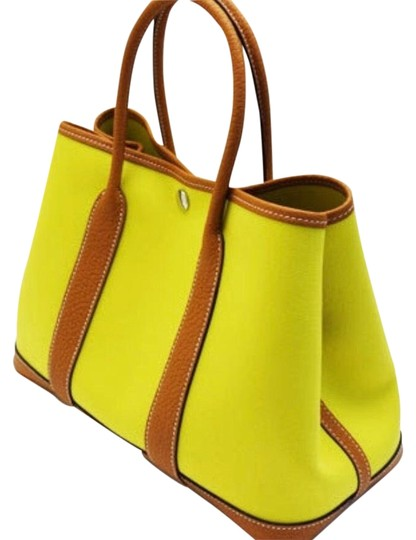Hermes Garden Party 30 Toile Officier Ax Lime Toffee Canvas Tote