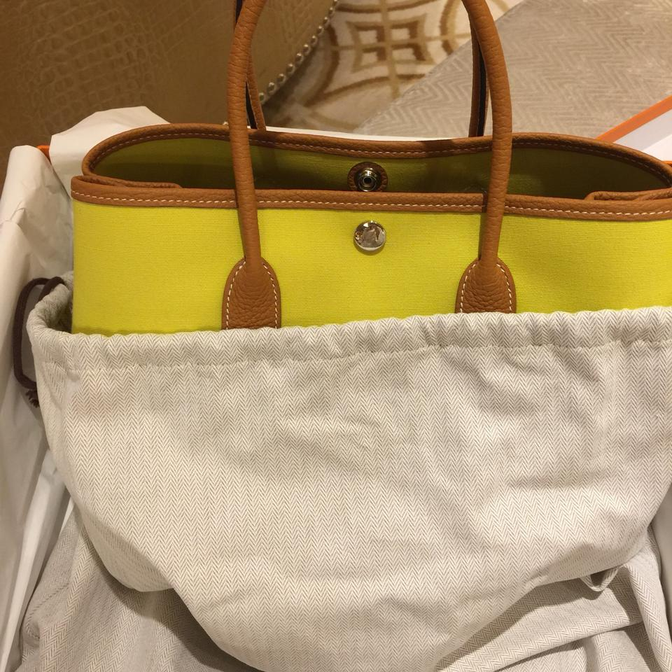 15d21dfcfb Hermès Garden Party 30 Toile Officier Ax Lime/Toffee Canvas Tote ...