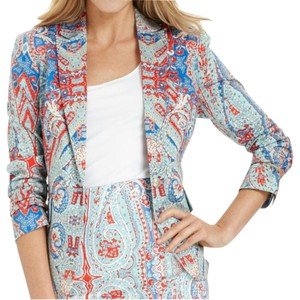 Jones New York Paisley Floral Blue Summer Blazer Skirt Set