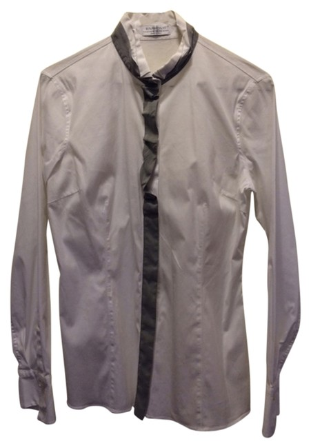 Riva Monti White Dressy Longsleeve Stretchy Made In Italy Dry Clean Washable Cold Gray Tuxedo Collar Button Down Shirt white/gray