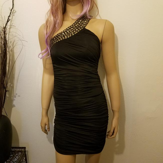 Cutie Gold Metallic Sequin Shimmer Sexy Cocktail Event Trendy Stylish Club Slimming Dress Image 2
