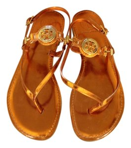 Tory Burch Metallic Leather Thong Orange Sandals