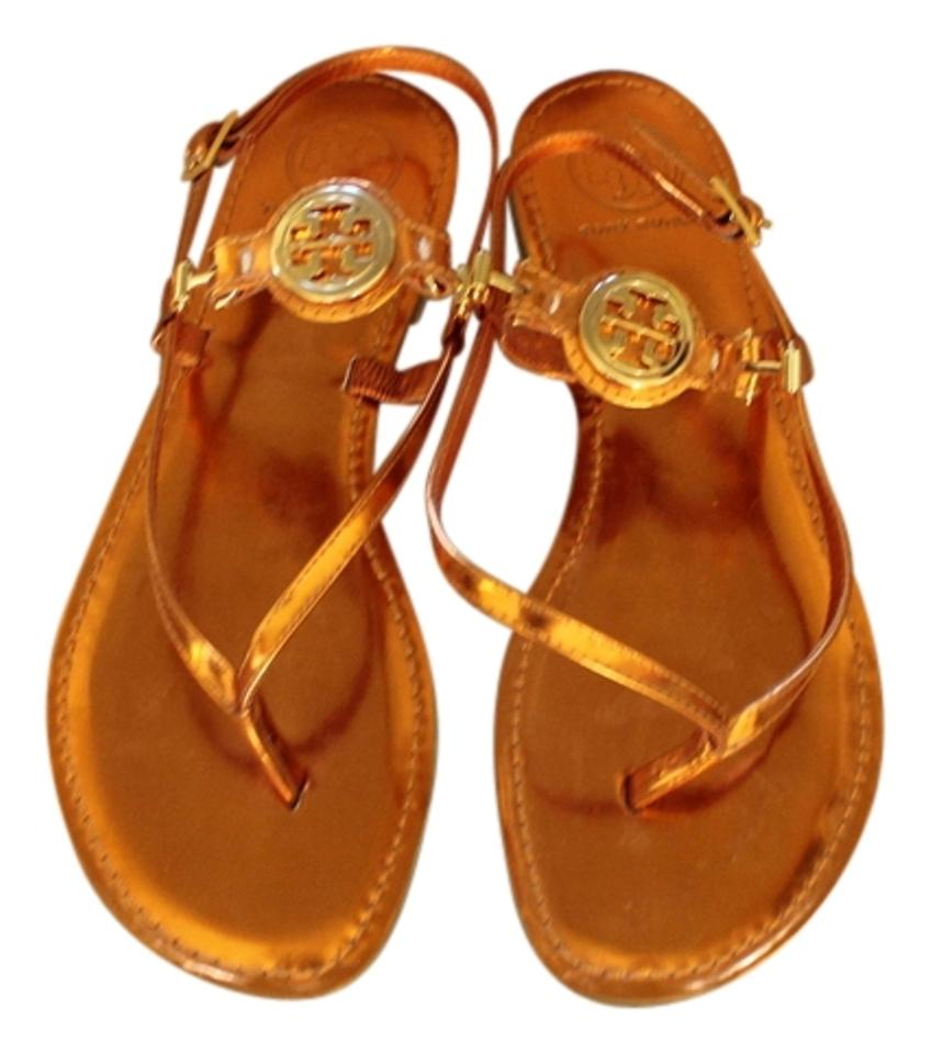 dd07e1576ebd Tory Burch Metallic Leather Thong Ankle Strap Ali Gold Hardware Reva Logo Orange  Sandals Image 0 ...