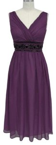 Purple Chiffon Goddess Beaded Waist Formal Destination Wedding Dress Size 24 (Plus 2x)
