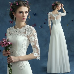 Lace Jewel Appliques Half Sleeves A Line Wedding Dress Wedding Dress
