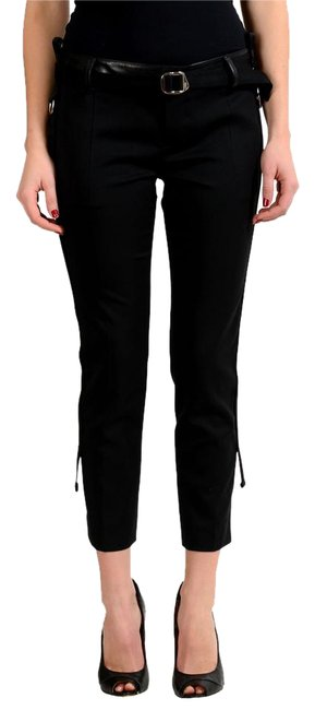 Preload https://img-static.tradesy.com/item/21283045/dsquared2-black-women-s-wool-leather-trimmed-capricropped-pants-size-0-xs-25-0-1-650-650.jpg