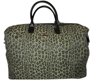 Diane von Furstenberg Man Made Animal Print Leapard black & tan Travel Bag