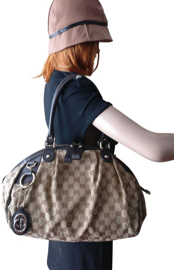 cc6a1e0c3b26 gucci sukey large gg monogram leather top handle brown canvas shoulder bag  42% off r... TRADESY