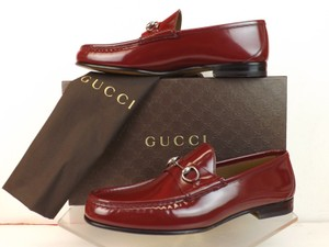 Gucci Mens Strong Red Leather 1953 Silver Horsebit Loafers 10.5 11.5 #387598