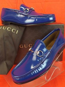 Gucci Royale Blue Horsebit Mens Shade Leather Silver Loafers 7.5 8.5 #387598 Shoes