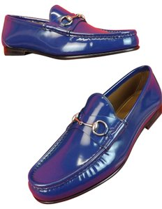 Gucci Royale Blue Mens Shade Lux Leather Silver Horsebit Loafers 8 9 #387598 Shoes