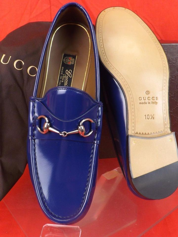 68e0b4a77 Gucci Royale Blue Horsebit Mens Shade Lux Leather Silver Loafers 8 9 ...
