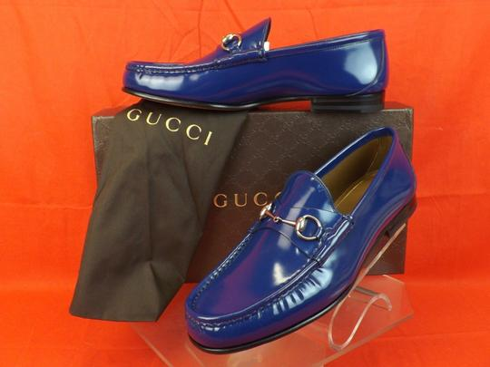 Gucci Royale Blue Horsebit Mens Shade Lux Leather Silver Loafers 8 9 #387598 Shoes
