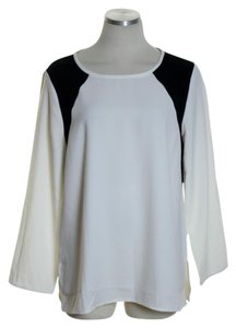 J.Crew Woven Long Sleeve Top Ivory/Black