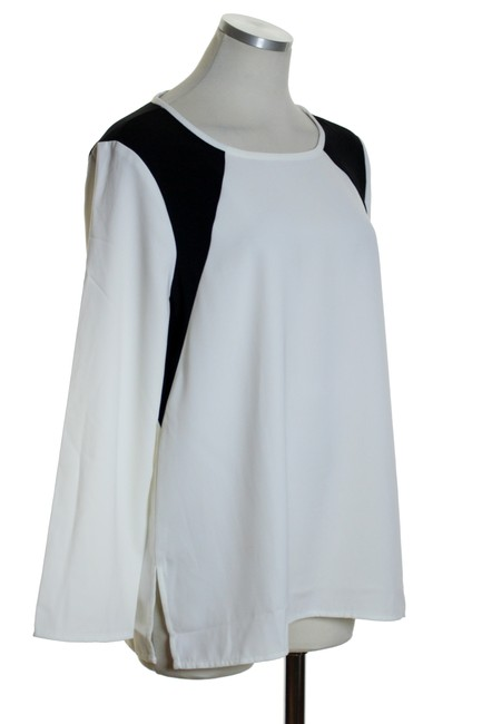 J.Crew Woven Long Sleeve Top Ivory/Black Image 1