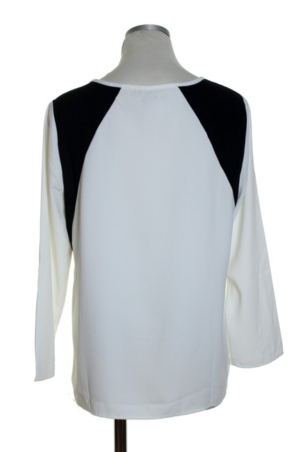 J.Crew Woven Long Sleeve Top Ivory/Black Image 2