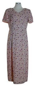 Pink Maxi Dress by Maggy London Print Short Sleeve Woven