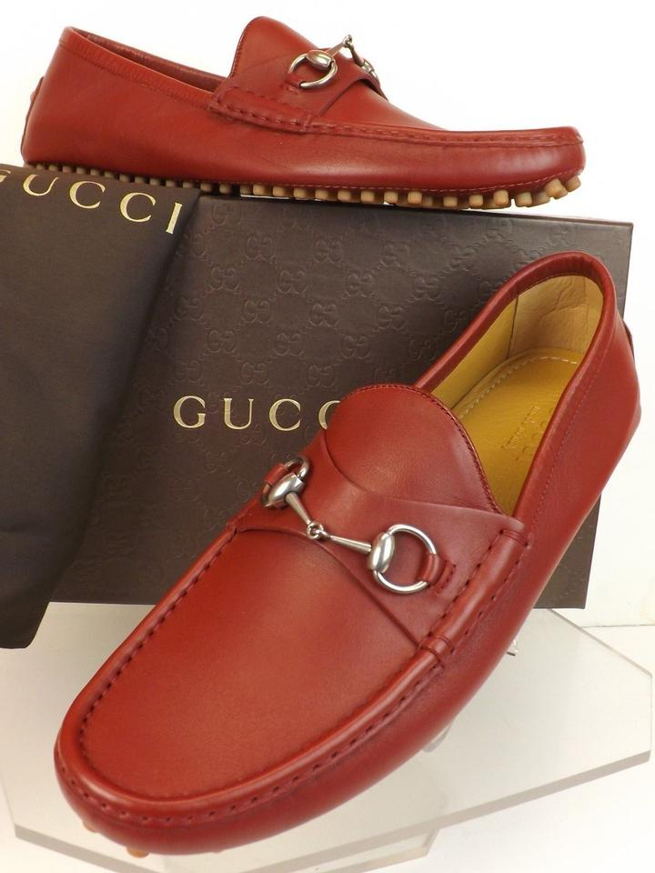 89cb9d64019 Gucci Deep Scarlet Red Horsebit Leather Damo Driver Loafers 12.5 13.5   236936 Shoes Image ...