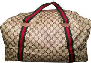 Gucci Logo Duffle Travel Brown Travel Bag