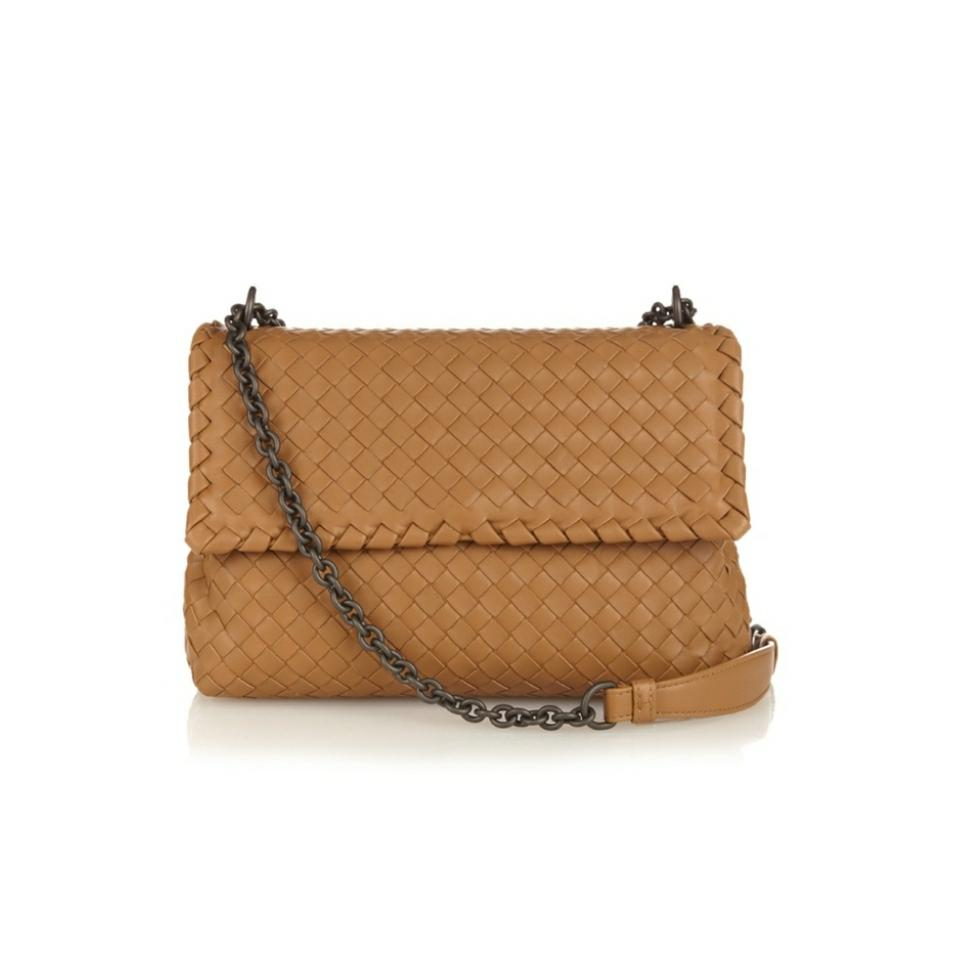 331370d189 Bottega Veneta Nwts Olimpia Intrecciato Camel Nappa Leather Cross Body Bag
