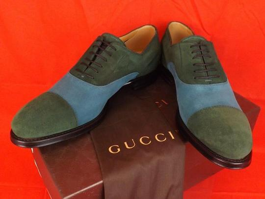 Gucci Multi-color Mens Two Tone Suede Script Logo Lace Up Derby Oxfords 11 12 #368454 Shoes
