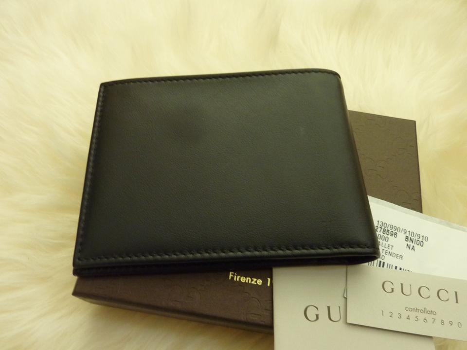 efe008b5e22e Gucci Black New 278596 Men's Leather Embossed Logo Text Bifold Wallet