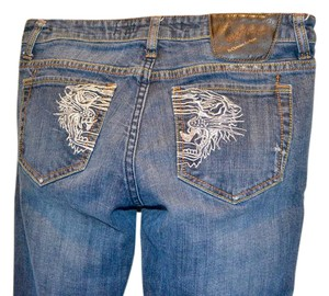 Ed Hardy Embroidery Low Rise Distressed Skinny Straight Leg Jeans-Distressed