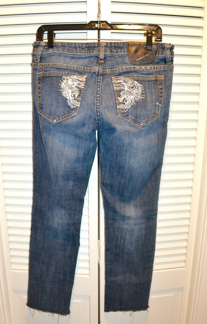 Ed Hardy Embroidery Low Rise Distressed Skinny Straight Leg Jeans-Distressed Image 2
